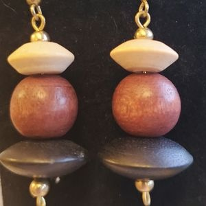 2 pair wood bead dangle earrings